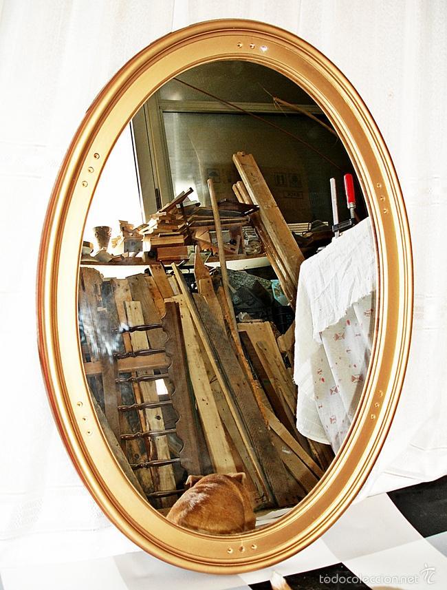Vintage: Espejo Ovalado - Marco de Madera - Foto 2 - 57537568