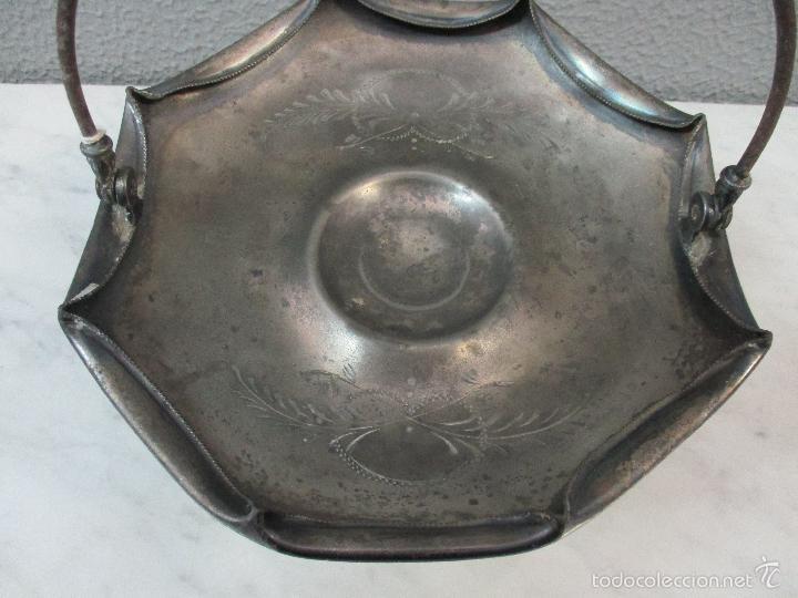 Vintage: Cesta antigua - Centro de Mesa - estaño cincelado - 22,5 cm de Diámetro - Principios S. XX - Foto 5 - 57865026