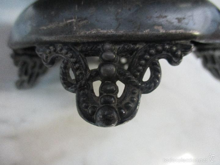 Vintage: Cesta antigua - Centro de Mesa - estaño cincelado - 22,5 cm de Diámetro - Principios S. XX - Foto 13 - 57865026