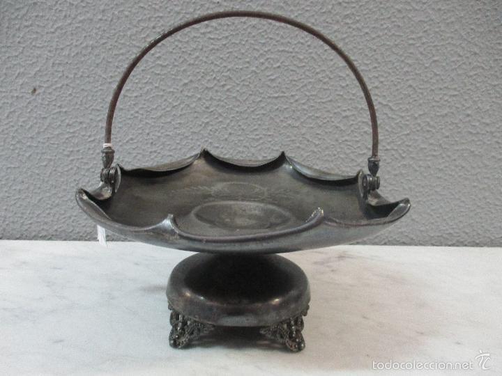 Vintage: Cesta antigua - Centro de Mesa - estaño cincelado - 22,5 cm de Diámetro - Principios S. XX - Foto 14 - 57865026