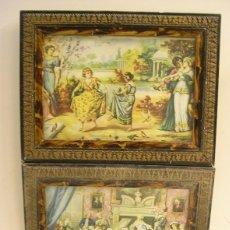 Vintage: LOTE DE 2 MARCOS ANTIGUOS DE PUEBLO CON CRISTAL.. Lote 57960233