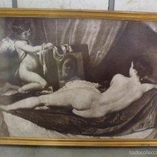 Vintage: LA VENUS DEL ESPEJO. FOTOGRAFIA VIRADA TIPO POSTER, ENMARCADA. GRANDES MEDIDAS.. Lote 58082487