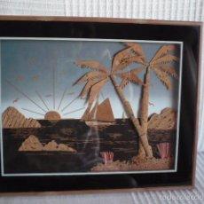 Vintage: CUADRO HECHO CON CORCHO VINTAGE - PAISAJE MARINO. Lote 58143284
