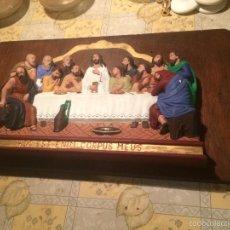 Vintage: ANTIGUO CUADRO / MARCO ESCENA SANTA CENA DE JESUS EN HIESO Y MADERA AÑOS 40-50 . Lote 58441819