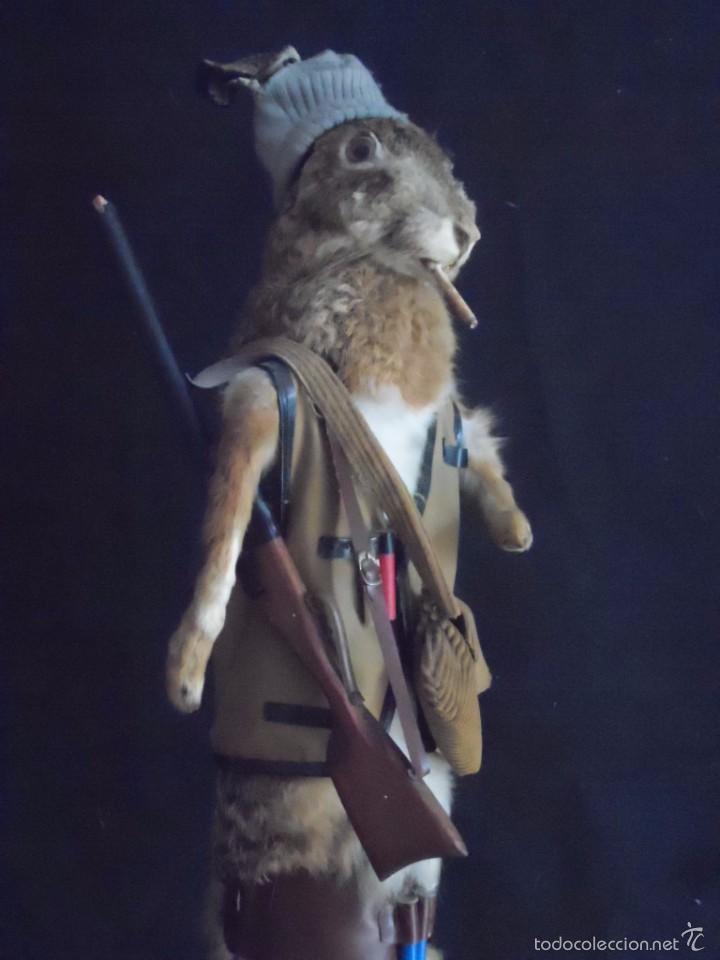 Vintage: increible TAXIDERMIA cazadores - OJO a MISTER RABBIT- DECO VINTAGE trofeo de caza - Foto 2 - 58923220