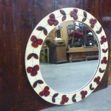 Vintage: ESPEJO REDONDO, DECORADO CON FLORES. VINTAGE. Lote 59209520