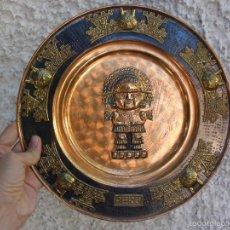 Vintage: GRAN PLATO DE METAL PERÚ CON DIOS AZTECA EN COBRE. Lote 59653067