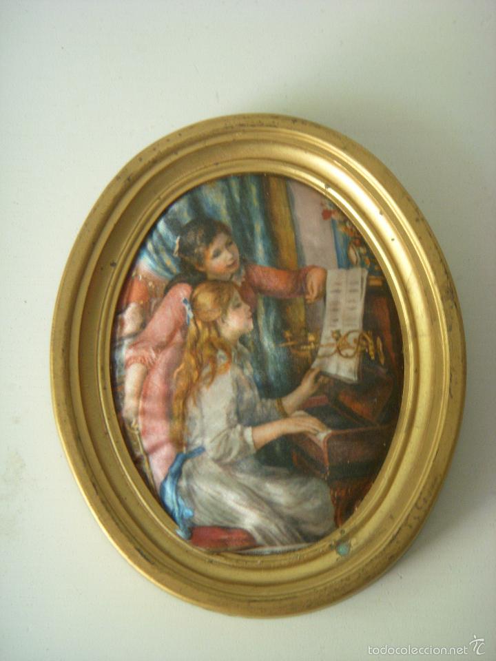 precioso cuadro en seda, marco madera al oro - Comprar en ...