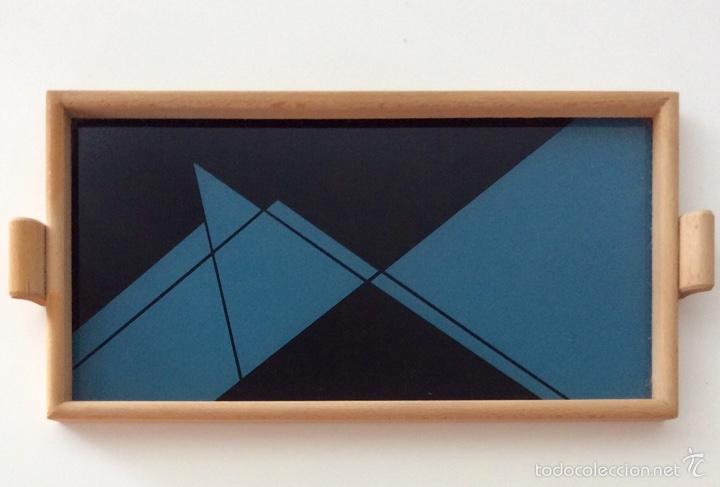Vintage: Bandeja años 70 estilo arty en madera/cristal serigrafíado diseñada por equipo MARAGDA. - Foto 5 - 104659662