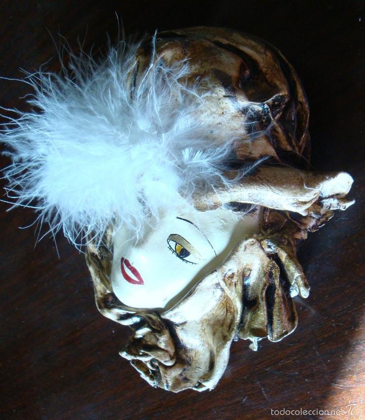 Vintage: Pequeña máscara replica veneciana plumas decoración firmada Begoña D. - Foto 3 - 59983855