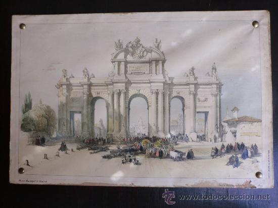 Vintage: PUERTA DE ALCALÁ litografía ANTIGUA.IDEAL DECORACIÓN - Foto 5 - 60157523
