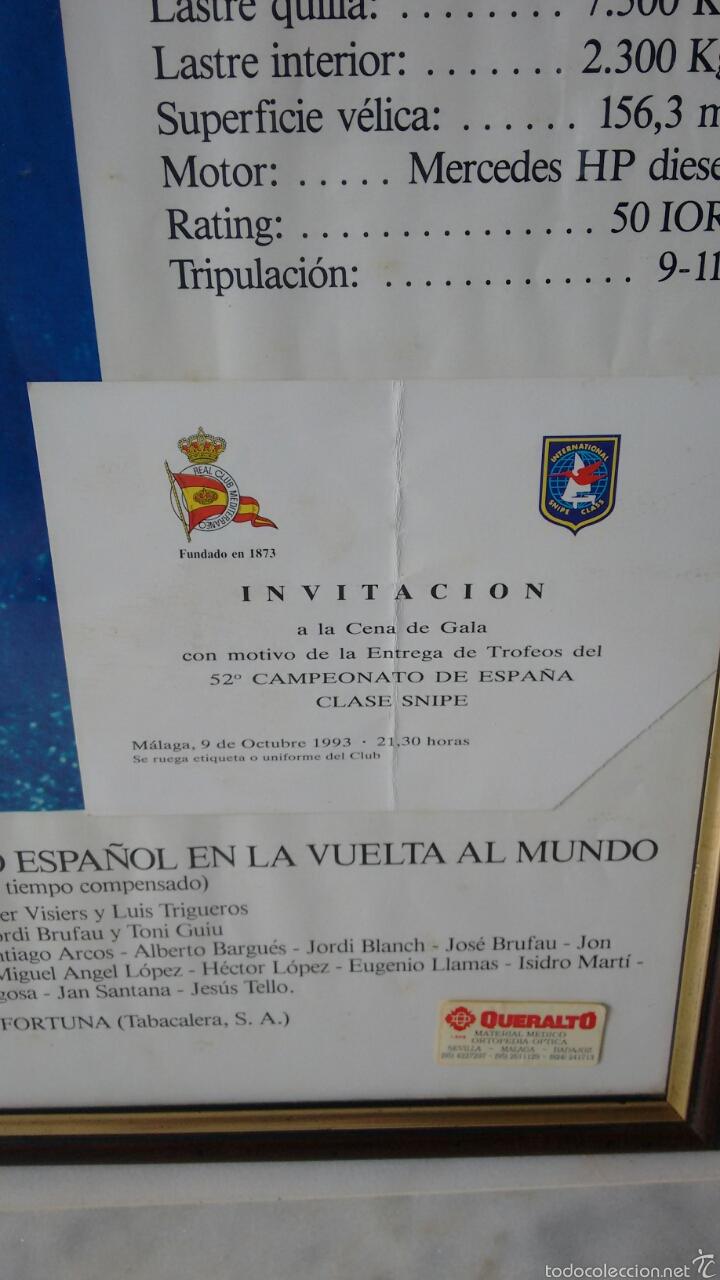 Vintage: Cuadro velero fortuna Con tarjeta invitacion ala entrega de trofeos Cto españa 93 - Foto 4 - 61407035