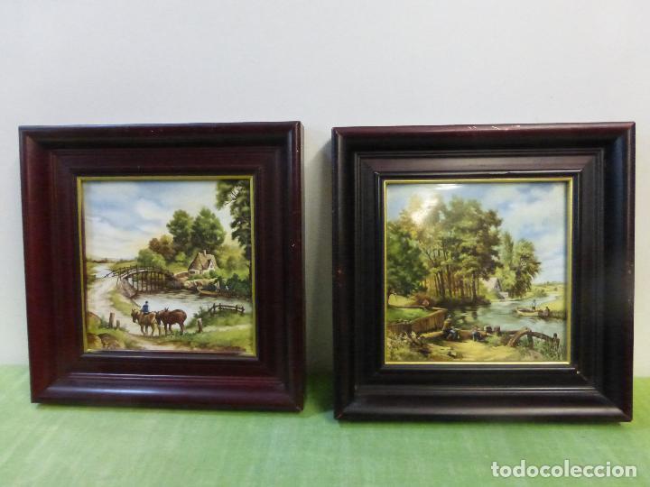 antigua pareja de cuadros vintage en seda natur - Comprar en ...