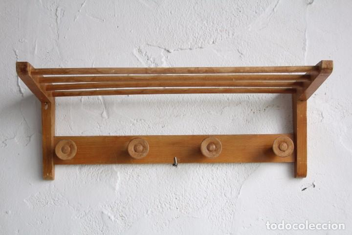 perchero de pared o colgador de madera de haya aos 60 vintage - Percheros De Madera