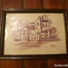 Vintage: MARCO CON DIBUJO CASAS. Lote 63996515