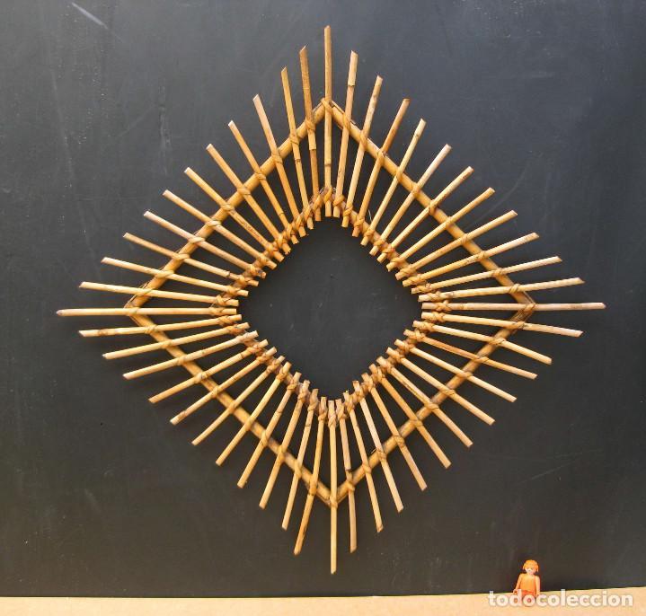 marco para espejo caa rattan o bambu tipo sol ideal decoracion vintage espejos vintage