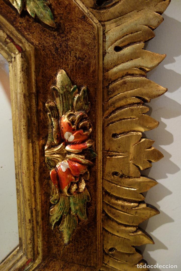 Vintage: Espejo vintage tipo sol madera policromada años 60 antiguo dorado flores hojas grande - Foto 2 - 66505306