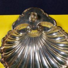 Vintage: CONCHA METAL PLATEADO PORTAVELAS CRESCENT BASE PECES AÑOS 70 7,5X27X26CMS. Lote 67143525