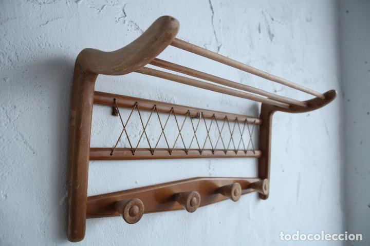 vintage perchero de pared o colgador de madera de haya aos