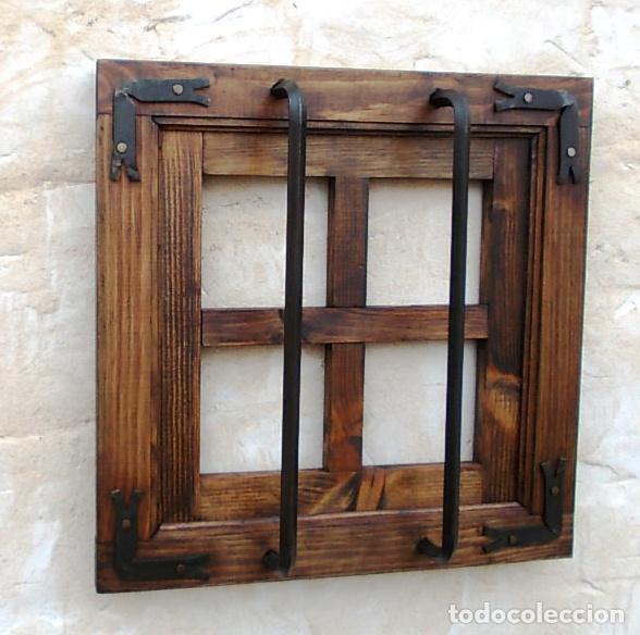 Ventana rustica madera con rejas forjada con 4 vendido for Ventanas de madera rusticas precio