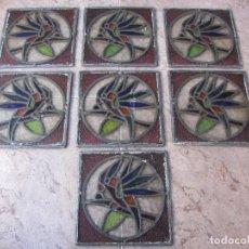 Vintage: ANTIGUO LOTE DE 7 PEQUEÑAS VIDIERAS DE CRISTAL EMPLOMADO - REPRESENTA LOROS -. Lote 71498303