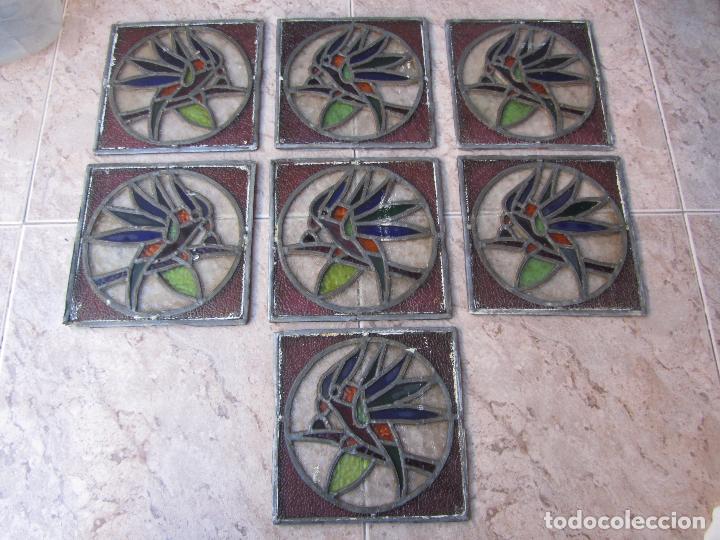 Vintage: Antiguo Lote de 7 Pequeñas Vidieras de Cristal Emplomado - Representa Loros - - Foto 2 - 71498303