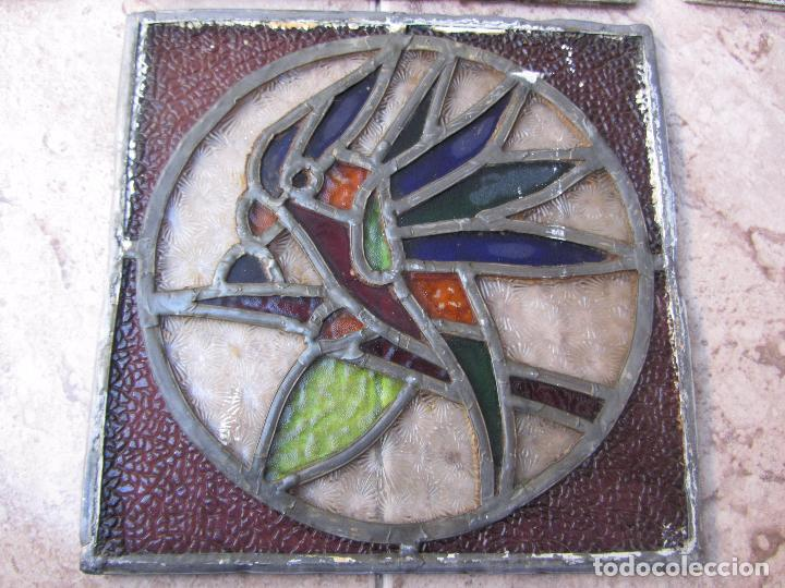 Vintage: Antiguo Lote de 7 Pequeñas Vidieras de Cristal Emplomado - Representa Loros - - Foto 3 - 71498303