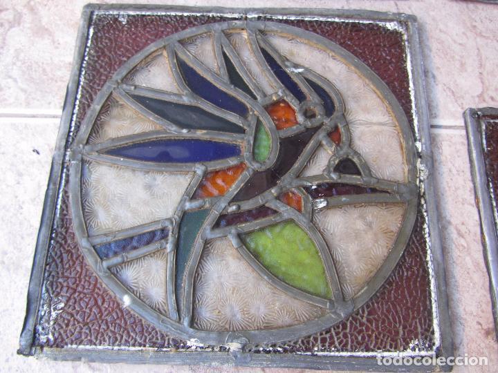 Vintage: Antiguo Lote de 7 Pequeñas Vidieras de Cristal Emplomado - Representa Loros - - Foto 4 - 71498303