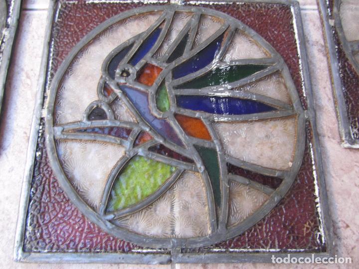 Vintage: Antiguo Lote de 7 Pequeñas Vidieras de Cristal Emplomado - Representa Loros - - Foto 5 - 71498303