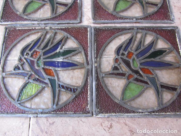 Vintage: Antiguo Lote de 7 Pequeñas Vidieras de Cristal Emplomado - Representa Loros - - Foto 6 - 71498303