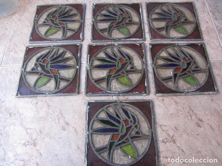 Vintage: Antiguo Lote de 7 Pequeñas Vidieras de Cristal Emplomado - Representa Loros - - Foto 7 - 71498303