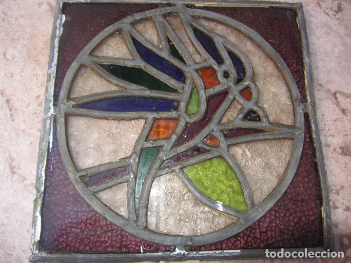 Vintage: Antiguo Lote de 7 Pequeñas Vidieras de Cristal Emplomado - Representa Loros - - Foto 8 - 71498303