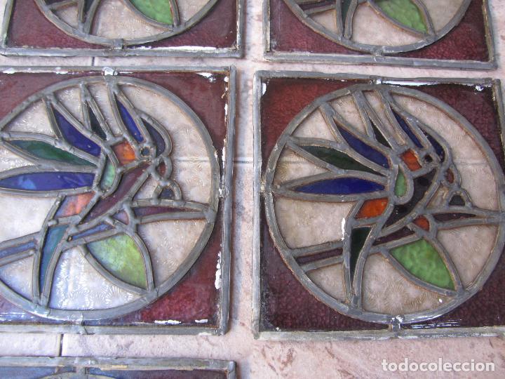 Vintage: Antiguo Lote de 7 Pequeñas Vidieras de Cristal Emplomado - Representa Loros - - Foto 9 - 71498303