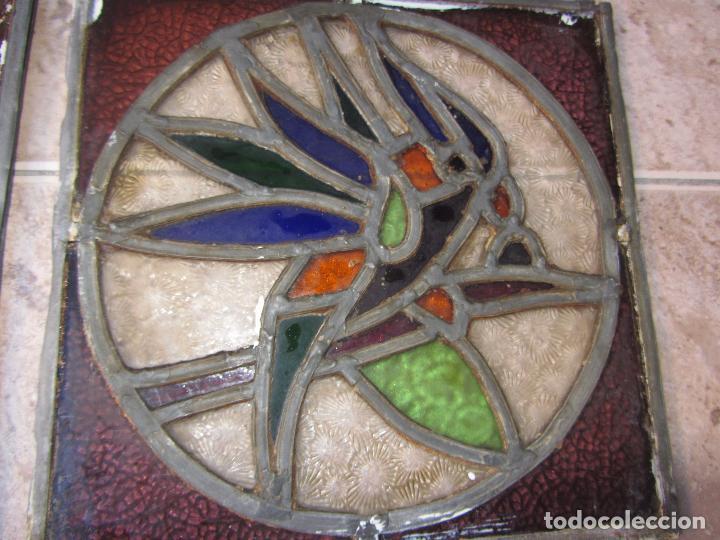 Vintage: Antiguo Lote de 7 Pequeñas Vidieras de Cristal Emplomado - Representa Loros - - Foto 10 - 71498303