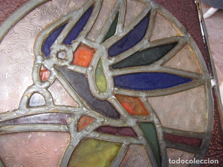 Vintage: Antiguo Lote de 7 Pequeñas Vidieras de Cristal Emplomado - Representa Loros - - Foto 11 - 71498303