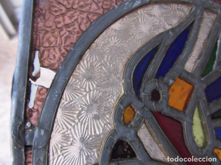 Vintage: Antiguo Lote de 7 Pequeñas Vidieras de Cristal Emplomado - Representa Loros - - Foto 13 - 71498303