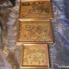 Vintage: CONJUNTO 3 CUADRITOS TERRARUM MARCOS DORADOS AÑOS 70. Lote 71660231