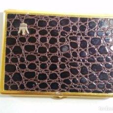 Vintage: PITILLERA METAL DORADO Y SIMIL PIEL - 7,5 X 11 CM. Lote 72214555