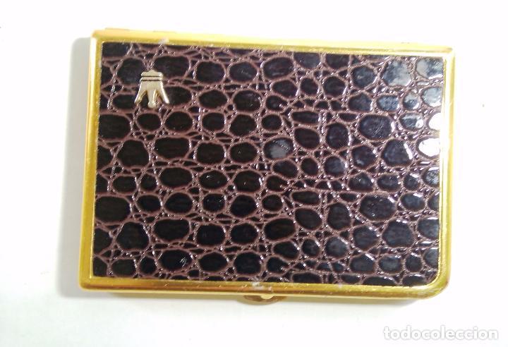 Vintage: PITILLERA METAL DORADO Y SIMIL PIEL - 7,5 X 11 CM - Foto 4 - 72214555