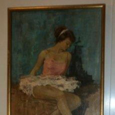 Vintage: CUADRO BAILARINA CLÁSICA SOBRE MADERA - FIRMA J PILARRÉ. Lote 72257211