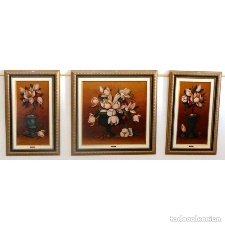 Oleo triptico tres cuadros flores enmarcados comprar en for Cuadros tripticos online