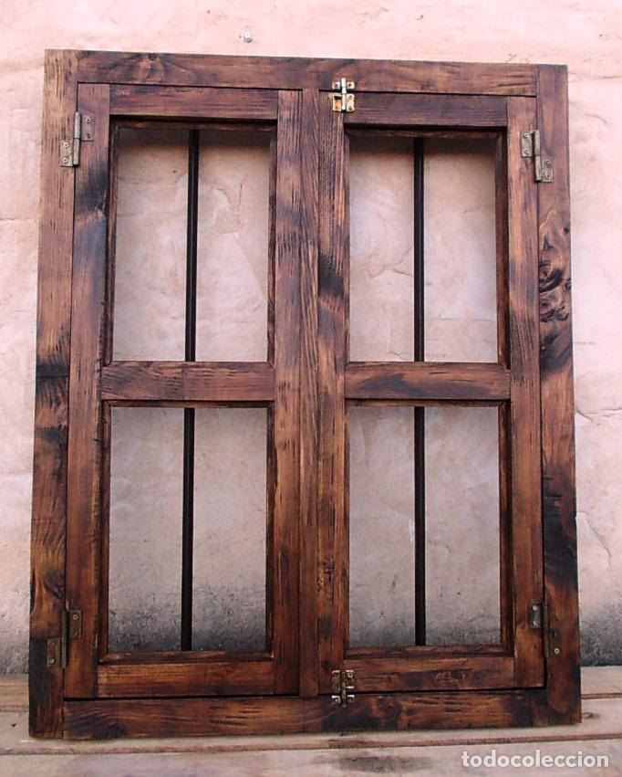 Ventana rustica madera con rejas forjada medid comprar for Ventanas de madera rusticas precio