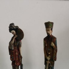 Vintage: 2 FIGURAS ORIENTALES EN MARFINITI POLICROMADOS. Lote 75095171