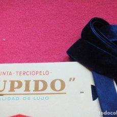 Vintage: ANTIGUA CINTA TERCIOPELO AZUL MARINO 7,5 METROS 2,5 CM DE ANCHO AÑOS 50 COSTURA TRAJE REGIONAL. Lote 76396599