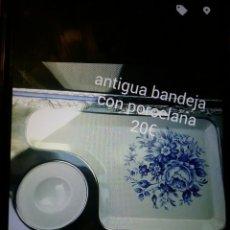 Vintage: BANDEJA METAL Y PORCELANA. Lote 76407991