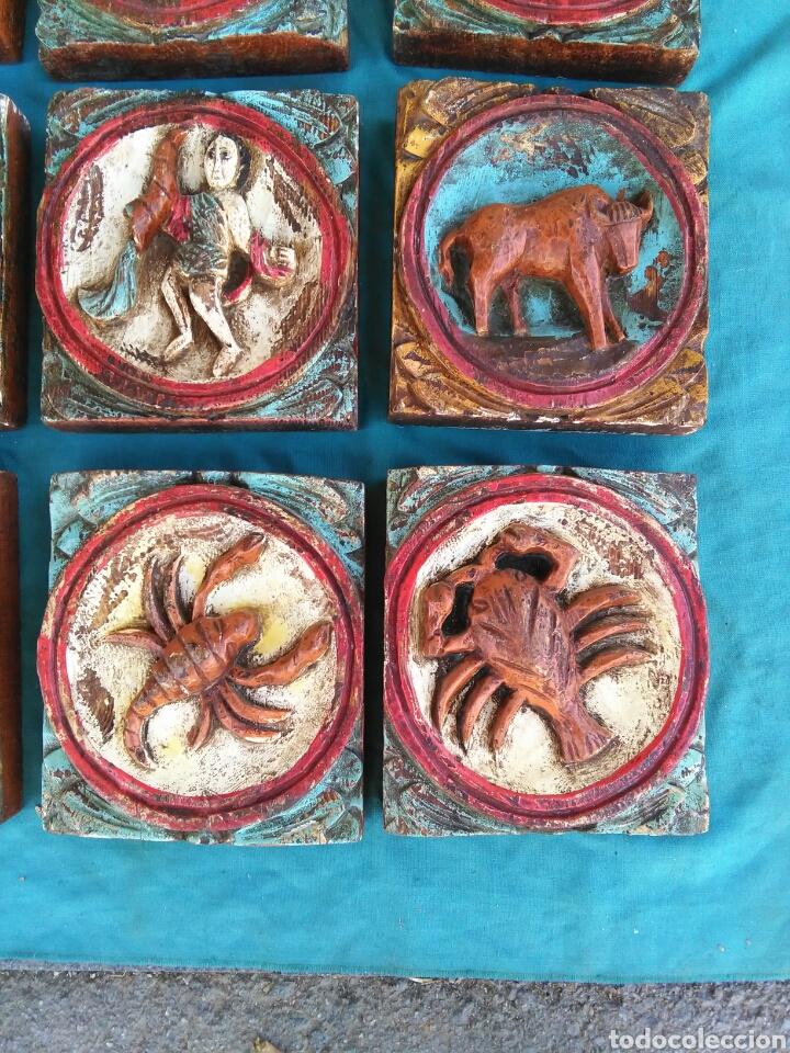 Vintage: Los 12 signos del zodiaco en madera policromada (Horoscopo) - Foto 3 - 76811629