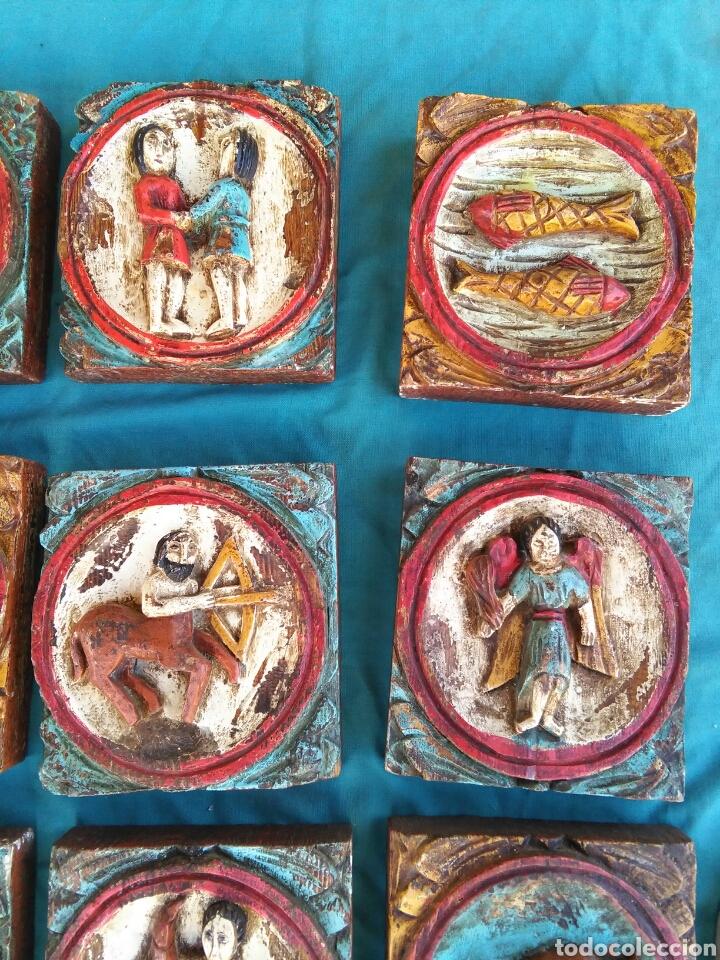 Vintage: Los 12 signos del zodiaco en madera policromada (Horoscopo) - Foto 4 - 76811629