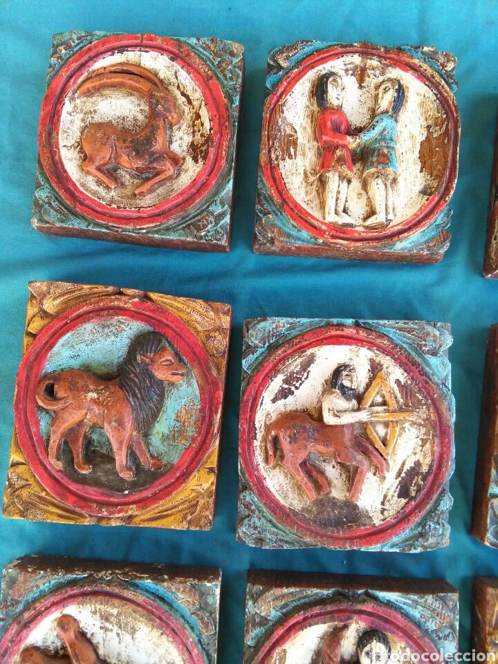 Vintage: Los 12 signos del zodiaco en madera policromada (Horoscopo) - Foto 5 - 76811629
