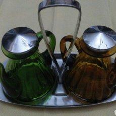 Vintage: VINAGRERA CRISTAL COLOR. Lote 80029578
