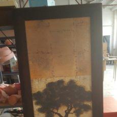 Vintage: GRAN CUADRO IMPRESION SOBRE TABLA, VINTAGE. ARBOL. 59X136CM. Lote 80215670